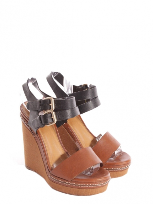Caramel brown and black leather and canvas wedge sandals Retail price €600 Size 36