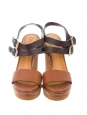 Sandales compensées en cuir et canvas noir et marron caramel Px boutique 600€ Taille 36