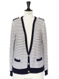 Off white and navy blue striped organic cotton cardigan Size 36