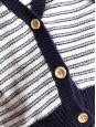 Gilet marinière en coton bio bleu marine et blanc cassé Taille 36