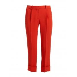 Pantalon droit en crêpe rouge carmin NEUF Px boutique 550€ Taille 36