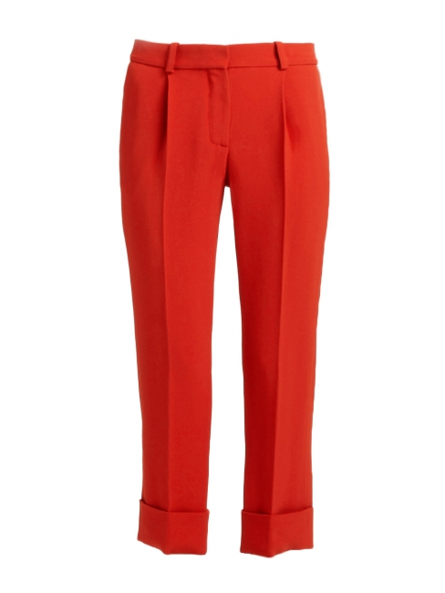 Carmine red crepe straight cut cropped pants NEW Retail price €550 Size 36