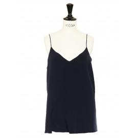 Black silk thin straps V-décolleté top Retail price €350 Size 38