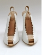 Scalloped white and light pink leather slingback sandals Retail 500€ Size 37.5