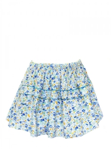 Blue yellow white green floral printed cotton skirt Size 36/38