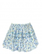 Blue yellow white green floral printed cotton mini skirt Size 36/38