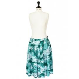 Jupe midi imprimé tropical feuilles de palmier vert et blanc Taille 38