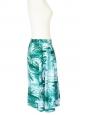 Jupe midi imprimé tropical vert et blanc Taille 38