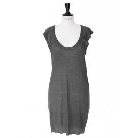 Dark grey linen sleeveless knitted dress retail price €125 Size 36