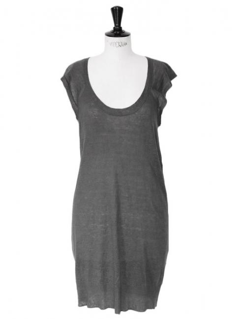 Robe débardeur en lin fin gris foncé Px boutique 125€ Taille 36