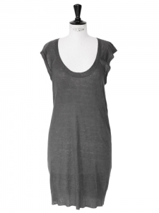 Dark grey linen sleeveless knitted dress retail price €125 Size 36