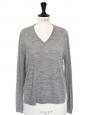 Light grey merino wool and striped silk sweater Retail price €320 Size 36