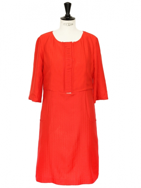 Bright red silk short sleeves Couture dress Retail price €1500 Size 36/38