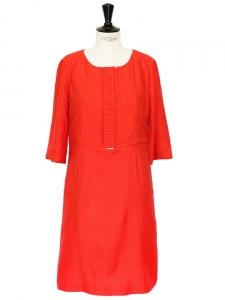 Robe Couture manches courtes en soie rouge vermillon Px boutique 1500€ Taille 38