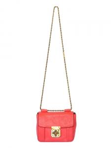 Sac ELSIE small à bandoulière chaîne en cuir grainé rouge corail Px boutique 1100€