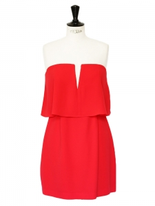 KATE Red strapless overlay dress Retail price €308 Size 40
