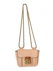 Sac ELSIE mini en cuir grainé beige rosé à bandoulière Px boutique 700€
