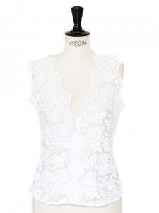 White guipure lace V neck sleeveless open back top Retail price €830