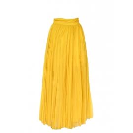 Jupe longue taille haute en mousseline de soie plissée jaune moutarde Prix boutique 2200€ Taille 34