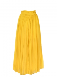 Mustard yellow silk chiffon pleated maxi skirt Retail price €2200 Size 34