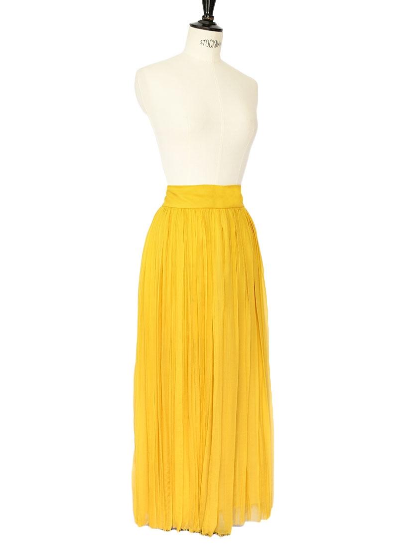 a670fd984de3 ... Jupe longue en mousseline de soie plissée jaune moutarde Px boutique  2200€ Taille 34 ...