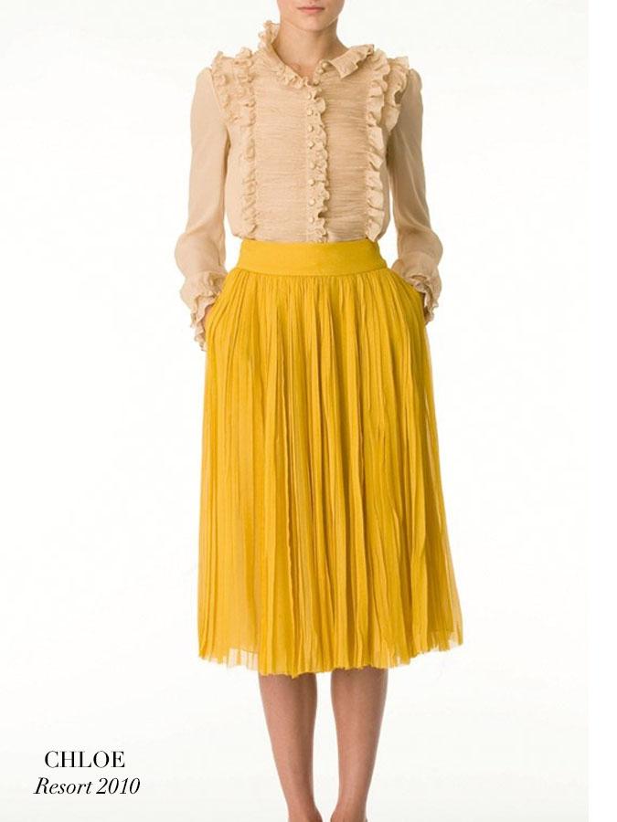 Louise Paris Chloe Mustard Yellow Silk Chiffon Pleated