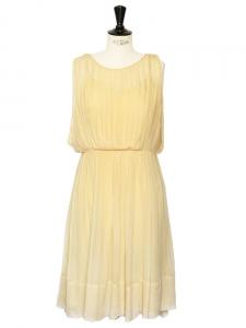 Pollen yellow pleated silk chiffon open back dress Retail price €2800 Size 36