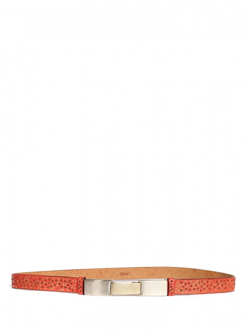 Coral pink leather belt with copper and gold studs Retail price €400 Size XS