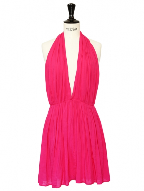 RILLER & FOUNT Open back bright fuchsia pink décolleté dress Size 36