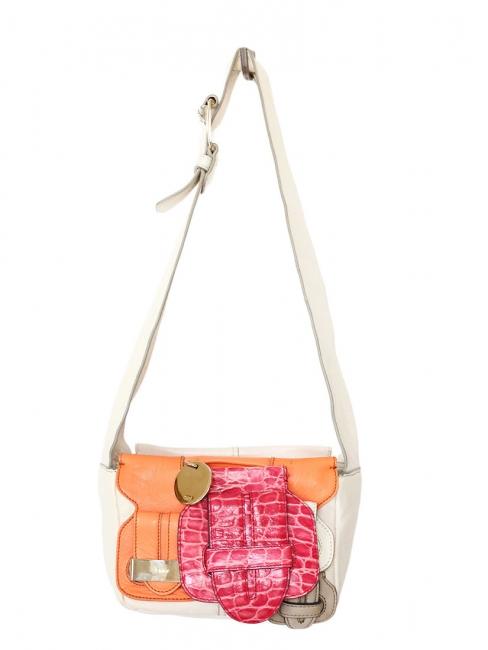 Sac à bandoulière SASKIA en cuir blanc, orange et crocodile rose Px boutique 1500€