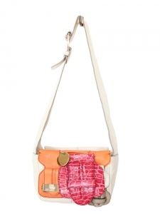 SASKIA Orange and cream leather and pink croc buckle bag Retail price €1500