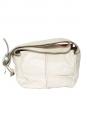 Petit sac à bandoulière SASKIA en cuir blanc et orange corail et crocodile rose framboise Px boutique 1500€