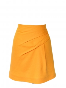 High waist honey gold yellow silk and wool flared skirt Retail price €650 Size 34/36