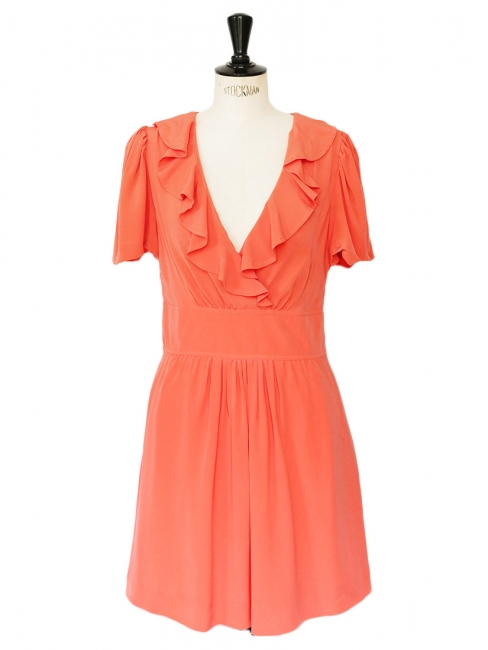 Orange red silk crêpe short sleeves décolleté dress Retail price €1200 Size 36/38