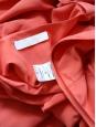 Robe décolleté manches courtes en crêpe de soie rouge orangé Px boutique 1200€ Taille 36/38