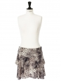 Beige grey and black printed silk skirt Size 38