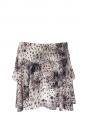 Jupe légère en soie imprimée léopard beige gris et noir Taille 38