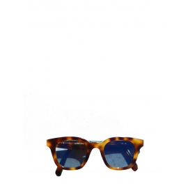Brown tortoiseshell Wayfarer sunglasses with blue lens Retail price €350
