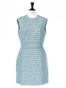 Lagoon blue, black and beige silk and cotton tweed cinched dress Retail price €1200 Size 38/40
