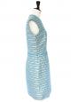 Robe de cocktail sans manche cintrée en tweed de coton et soie bleu lagon et noir Px boutique 1200€ Taille 38/40