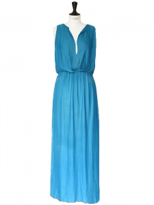 Ocean blue box pleat fluid maxi dress with bib front detail Size 36/38