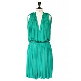 Robe de soirée drapée et plissée vert émeraude Prix boutique 1850€ Taille 38/40