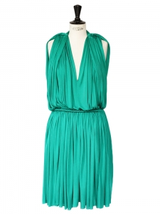 Emerald green pleated and draped grecian style evening dress Retail price €1850 Size 38/40