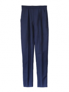 High waist cobalt blue wool and silk tailored pants Retail price €650 Size 34