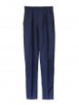 Pantalon taille haute en soie et laine bleu marine cobalt Px boutique 650€ Taille 34