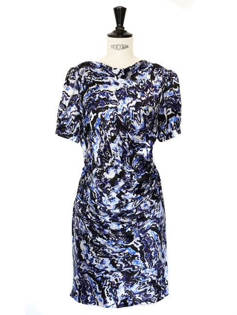 Purple and blue graphic print silk draped dress Retail price €1400 Size 34