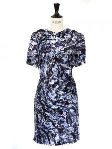 Robe drapée en soie imprimé graphique violet bleu blanc Px boutique 1400€ Taille 34