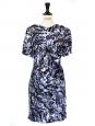 Robe drapée en soie motif imprimé graphique violet bleu blanc Px boutique 1400€ Taille 34