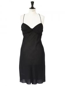 Petite robe noire à fines bretelles en crêpe de soie noir Px boutique 1500€ Taille 36