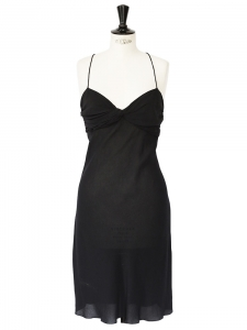 Black silk crepe spaghetti strap dress Retail price €1500 Size 36